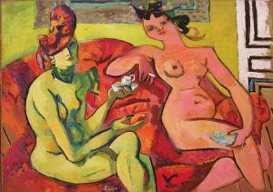 LATAPIE  2  nus sur un sofa