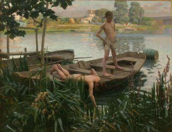 REALIER-DUMAS Deux garçons dans un bateau